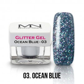 Gel UV cu Sclipici - nr.03 - Ocean Blue - 4g